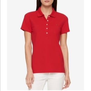 Tommy Hilfiger Women's Red Short Sleeve Polo